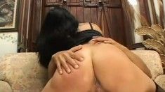 Lonely housewife entices two hung neighbors into riding her pussy