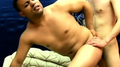 Dirty gay dudes get down for a round of cocksucking and deep anal