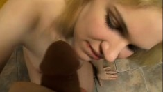 Renee Jordan is a naked blond swallowing his load in a POV video