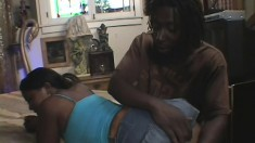 Curvy caramel girl has a huge black dick pounding her sweet pussy deep and hard