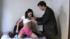 Pretty college girl relishes the hardcore threesome and gets a mouthful of cum