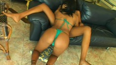 Stunning Brazilian girls taste each other's cunts and have fun with a strap-on dildo