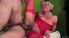 Horny granny gets a young man's cock to fuck her and chew on