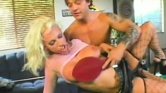 Luscious blonde mom with big tits has a hung stud punishing her holes