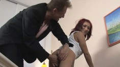 Busty redheaded MILF is horny and demands a cock in her pussy