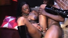 Curvy ebony lady Jada Fire spreads her hot legs and a black cock drills her holes deep