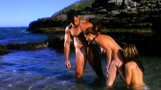 Glistening brunette from Brazil gets pounded out at the beach