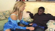 Milf sucks his black joint and it gets huge and is shoved up her twat