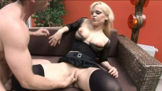 Juicy blonde in all black lingerie gets her bubble butt pounded