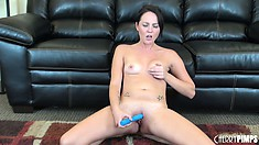 Ashley Stone reveals amusing tan lines across her tiny tits and dark nipples
