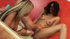 Paola Rey and her attractive lesbian friend making each other cum hard