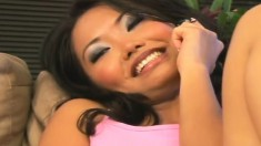 Asian hottie Lana gets down on her knees to swallow some cum
