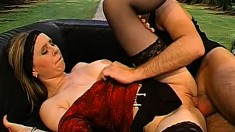 Wild babe Sandra enjoys a rough fucking and swallows a big load of cum
