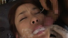 Petite Japanese cutie gets teased and covered in loads of cum