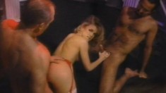 Blonde Missy is in a three way getting drilled and a penetrating DP