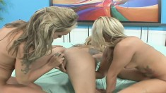 Blonde pussy-lover Angie Savage gets into an all-girl threesome
