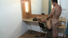 Blonde bitch is tied up on the floor and made to get him off and get a facial