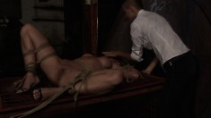 Naughty young Alexa gets tied up and has her tanned butt spanked