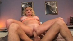 Hot Blonde mom loves to ride a hard pole and to get nailed doggy style