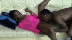 Ebony babe Jazzy gets her cunt eaten before he pumps it hard and deep