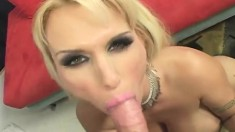 Stacked cougar Holly Halston fucks a hard pole like only she knows how