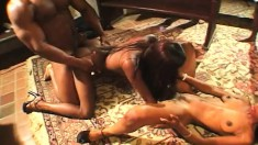 Wild ebony girls getting pounded rough by hung black studs in church