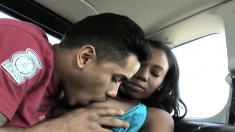 Ebony Mahlia Milian goes for a ride in a van and on his pecker