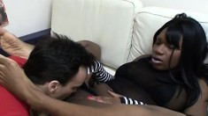 Burke gets an ebony babe to trade oral, fuck, and lick her feet