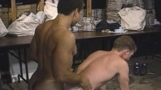 Hunky stud moans with pleasure while getting his anal hole fucked hard