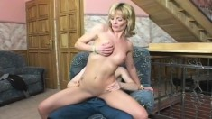 Blonde mom likes what she sees so sucks him to bang her bald twat