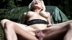 Blonde granny Sally Implana is outside getting her old cootch banged