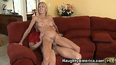 MILF Erica Lauren shows off her tits and rides her friends cock
