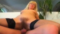 Hot mature babe Milena eats meat and gets her twat toyed and fucked