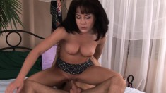 Lina's tight shaved pussy gets drilled deep and filled with hot sperm