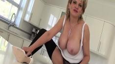 Voluptuous wife in black lingerie needs to get covered in fresh semen