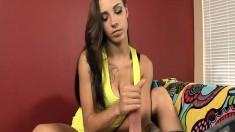 Beautiful brunette puts her handjob skills on display on a first date