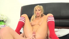 Sensual blonde with sexy legs and big hooters loves to fuck a long rod