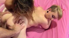 Horny sluts Keisha Grey and Miley May take turns eating and fucking a stiff prick
