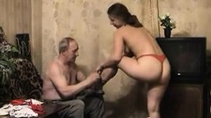 Balding Old-Man gets Banged with A Hot Brunette Girl and