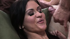 She bounces her trimmed slit on his cock and gets a messy facial