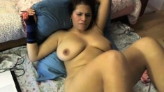 Fat domina with big boobs and glasses teasing with her feet