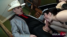 Ravishing whore is having a wild sex with real, well-endowed cowboy