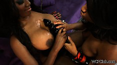 Smoking hot sista get kinky in their bed with their biggest toys