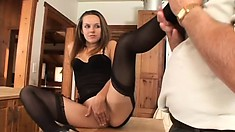 In the kitchen, the sexy brunette with tiny tits Melissa Juliana seduces an older guy