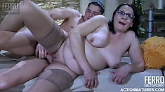 Fat secretary keeps her glasses on while getting fucked doggy