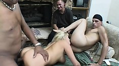 Sexy blonde babe gets freaky playing with her newest partners