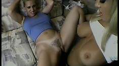 Two buxom blondes savor the taste each other's pussies and get fucked by a big cock