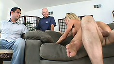 Busty blonde bimbo gets fucked hard while her husband watches