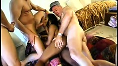 Dirty black girl with sexy long legs Kynthia has four white studs sharing her holes