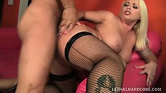 Angel Vain, a busty blonde milf with a big booty and hot legs, gets pounded hard